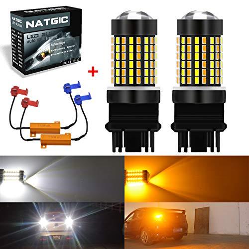 NATGIC 3157 3156 LED Ampoules 3014 120 - Ampoules LED Bicolores SMD Blanc/Ambre Lumière de Clignotant sans Erreur Canbus avec résistances de Charge de 50W 8ohm