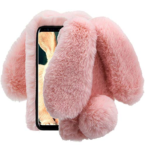 Aearl Compatible with Samsung Galaxy Note 9 Rabbit Fur Ball Case,Luxury Cute 3D Homemade Diamond Winter Warm Soft Furry Fluffy Fuzzy Bunny Ear Plush Back Phone Case Cover Girls Women-Pink