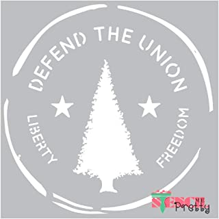 Museum Grade Ultra Thick Clear Color Material Patriotic Defend The Union Evergreen Liberty and Freedom Stencil-Multipack (S, M, L)