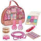 Style Girlz Unicorn Carry Bag Cosmetic Set - Girls Make-up Kit - 100% Child Safe & Peelable Nail Polish - Eye Shadow - Lip Balm - Body Gem Stickers