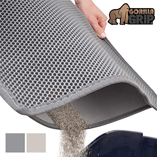 Gorilla Grip Original Premium Durable Cat Litter Trapper Mat, 30x24 inches, Water Resistant, Honeycomb Mats Trap Litter from Box and Cats, Scatter Control, Soft on Kitty Paws, Easy Clean Mats, Gray