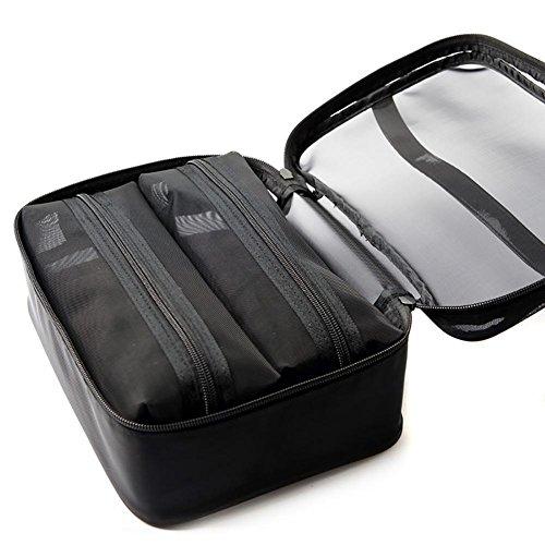 Black Transparent Yarn Grid Mesh Sac cosmétiques, sac de lavage , gauze combination