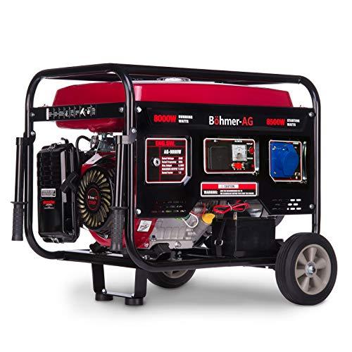 Böhmer-AG 9000W-E - Grupo Electrógeno Versátil a Gasolina con Llave eléctrica - Uno 32 Amp y Uno Adaptador EU Enchufe - 8500W - 10,5Kva - 17HP