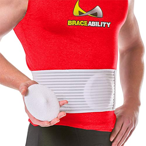 BraceAbility Hernia Belt for Men & Women | Stomach Truss Binder with Compression Support Pad for Abdominal, Umbilical, Navel & Belly Button Hernias - L/XL (New & Improved) Fits 40'-60'