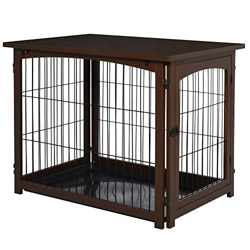 PawHut Wooden Decorative Dog Cage Pet Crate Fence Side Table Small Animal House with Tabletop, Lockable Door, Brown Crates Furniture-Style