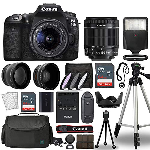 Canon EOS 90D Digital SLR Camera Body with Canon EF-S 18-55mm f/3.5-5.6 is STM Lens 3 Lens DSLR Kit Bundled with Complete Accessory Bundle + 128GB + Flash + Case/Bag