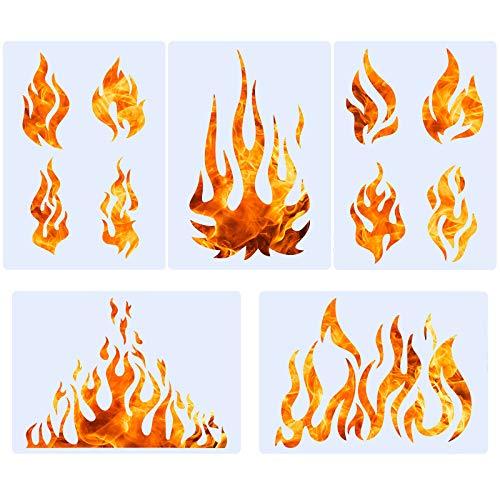 5 Blatt Flamme Schablone Airbrush Flamme Schablone Feuer wiederverwendbar Vorlagen Flamme Malerei Dekor Vorlage für Kunst Fenster Wand Handwerk Malerei Dekorationen (20 x 14 cm)