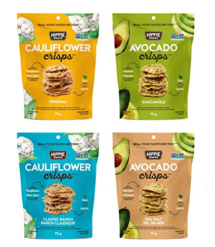 Hippie Snacks Cauliflower Crisps, Plant-based, High Protein, Gluten Free Snack, Crackers for Charcuterie Boards, 2.5oz, Variety Pack of 4
