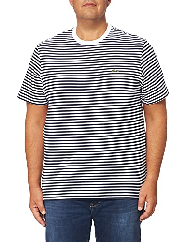 Lacoste TH7095 Tee-Shirt, Blanc/Marine, L Homme