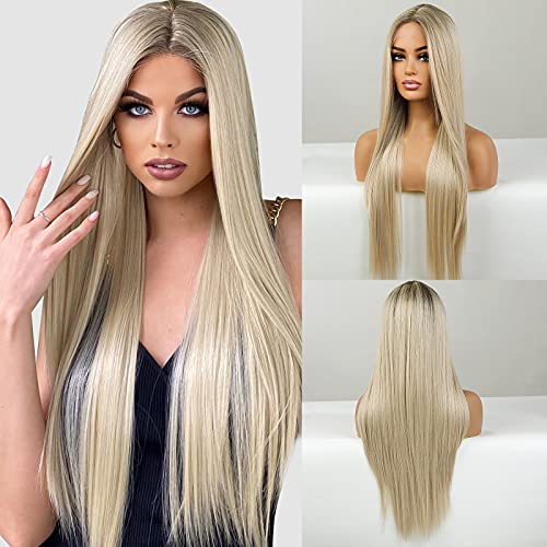 Emmor Long Blonde Lace Front Wig for Women, 30 Inch Natural Hair Straight...