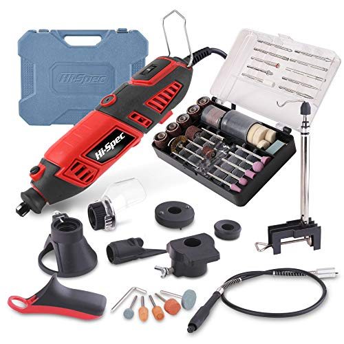HiSpec 135 Piece 170W Rotary Power Tool Kit with 1m Flexi Drive Shaft Clamp Stand Cutting Guides Handle amp 126 Piece Bits for DIY Repairs amp Craftwork in a Carry Case Compatible with Dremel Bits