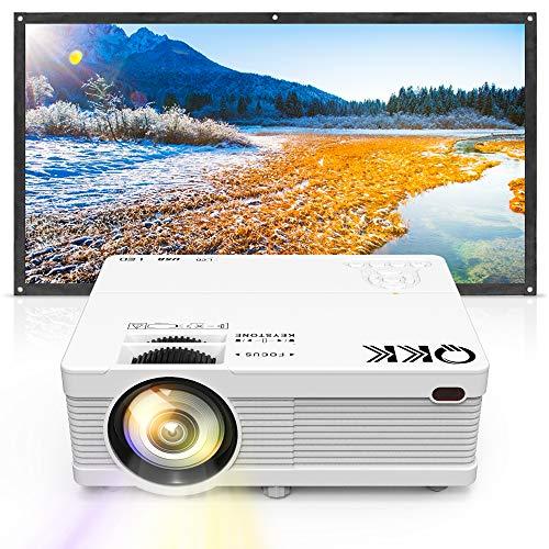 QKK プロジェクター 2800lm パソコン/スマホ/タブレット/ゲームプレーヤー接続可 USB×2/SD/HDMI/AV/VGA対応