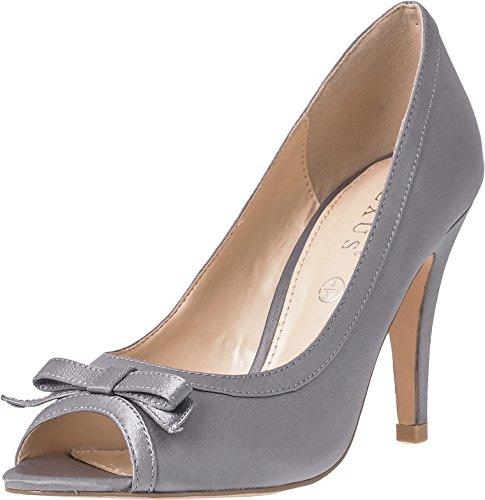 Lexux Damskie buty z odkrytymi palcami wysokie obcasy szpilka ślub wesele wesele bal bal buty z kokardą z przodu, - szary - 35 EU