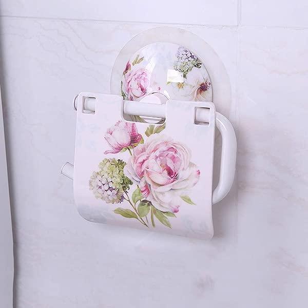 XG Inc Wall Mounted Bathroom Paper Towel Holder Flower Pattern Fashion Bathroom Tissue Box Toilet Suction Cup Roll Holder B