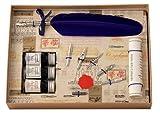 Coles - Set de caligrafía (pluma de ave, 3 frasco de tinta y 6 plumines)