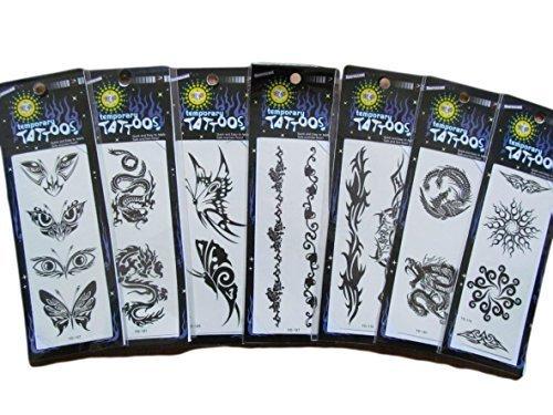 5 ou 10 Mélange Paquets de qualité Noir Artistique Celtique bandes, dragons, cernes, araignées, Pour hommes femmes unisexe brille dans le noir Tatouage Temporaire Fêtes Sacs-cadeaux - Posté de London par Fat-catz-copie-catz - 5 tatouages brillant dans le noir