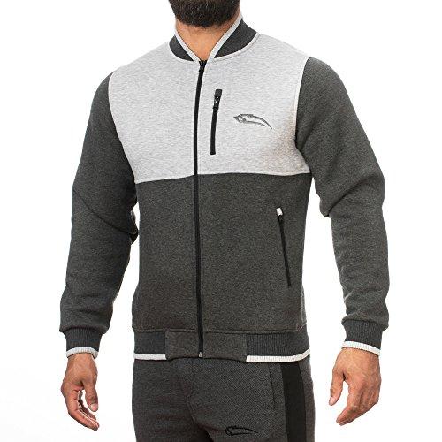 SMILODOX Herren College Jacke Trait, Farbe:Anthrazit/Grau, Größe:S