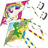 Yetech Cometa,Grande Cometa acrobaticas Unicornio y Dinosaurio por niños,110*55cm,Cordón y Cola de la Cometa incluidos,Juguetes de Cometa adecuados para Actividades Familiares al Aire Libre