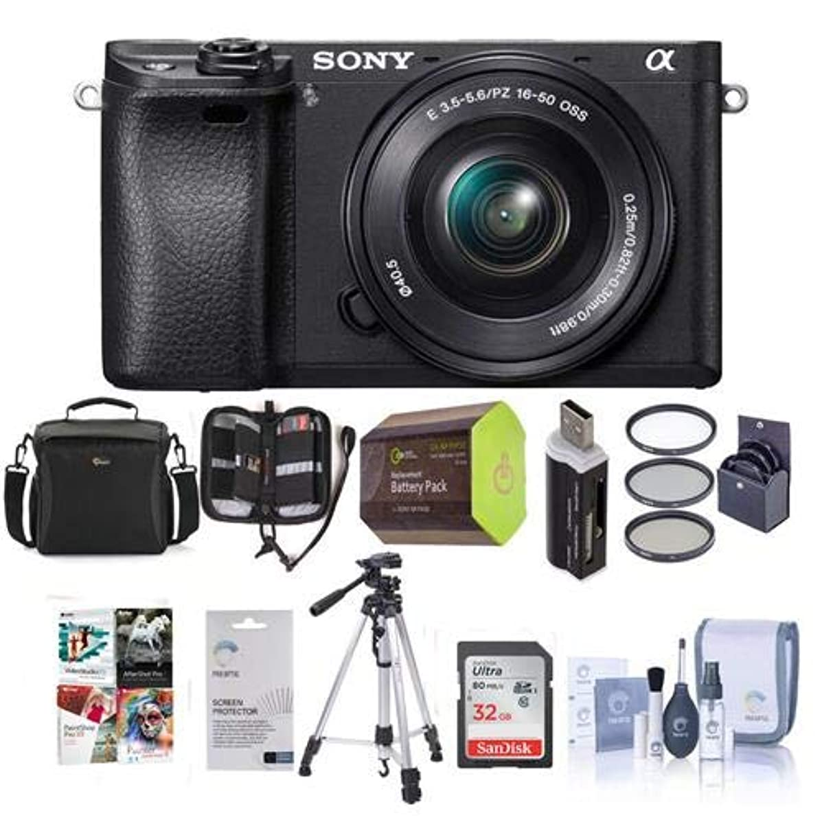 Sony Alpha a6300 Mirrorless Digital Camera Body, Black with 16-50mm E-Mount Lens - Bundle w/ 32GB Class 10 SDHC Card, Case, 40.5mm Filter Kit, Spare Battery, Cleaning Kit, Software Package and More