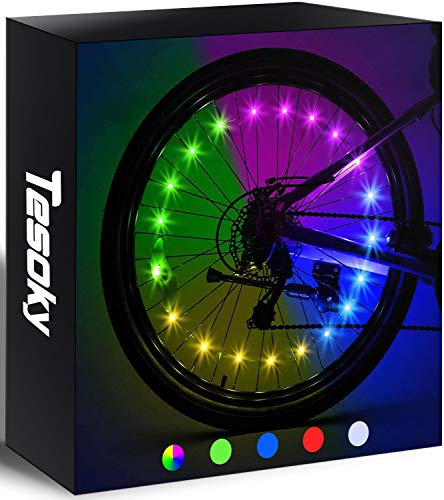 Tesoky 2-Tire Pack LED Bike Wheel Lights, Waterproof Cool Bicycle Wheel Lights Bicycle Accessories, Get 100% Brighter and Visible Safety Tire Lights, Popular Gifts for Kids for Adults