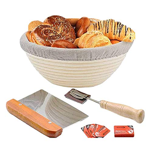 Round Banneton Bread Proofing Basket for Rising Dough Professional Baking Tool Bakers Proving Baskets for Sourdough Lame Bread Slashing Scraper Too lwith Cloth Liner 9inch