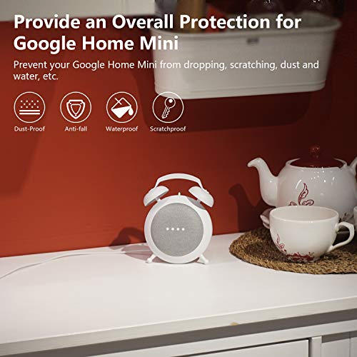 Google Home Mini Stand Holder, Retro Alarm Clock Stand Mount Base Protective Case Compatible with Google Home Mini and Nest Mini (White)