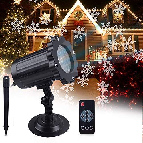 ROVLAK LED Projecteur Noël Lampe Chute de Neige Lumière avec Télécommande IP65 Imperméable Extérieur et Intérieur Décoration Flocon de Neige LED Projection Lumières pour Fête Anniversaire Halloween
