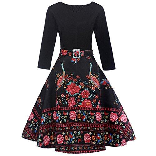 Kolylong® Kleider damen Frauen Vintage V-Ausschnitt Blumenmuster Kleid Knielang Elegant Langarm Swing Kleid Rockabilly Kleid Festlich Kleider Cocktailkleid Party Kleid Abendkleid (XL, Schwarz)
