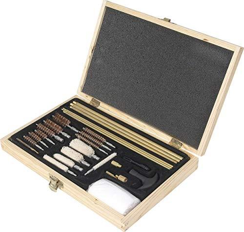 Kit pulizia armi da fuoco a marchio JACK PYKE, per calibro .17 fino a foro da 10. Include: Spazzole per pistola/fucile e manico Spazzole per fori da 10/12 e fori da 20/28, calibro .410 .45 .40 .357/38 (9mm) .17 .30 .270/280 .22 Include inoltre bende ...