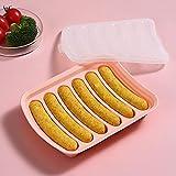 Molde de salchicha de silicona antiadherente para perros calientes caseros, perros calientes de bricolaje, BPA gratis, molde de perros calientes para horno y microondas (6 cavidades)-rosado