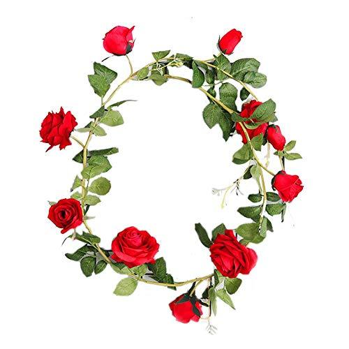 NaiCasy Corona de rosas falsas para hotel, boda, hogar, fiesta, jardín, color rojo