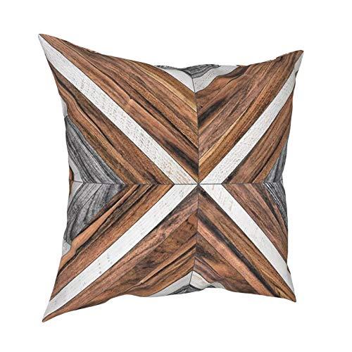 Fundas de Almohada Almohadas lumbares Almohadas para automóvil Patrón Urbano Tribal Cojines de Madera para sofá Fundas de Cojines Vintage Funda Decorativa Almohada de Piso para el hogar