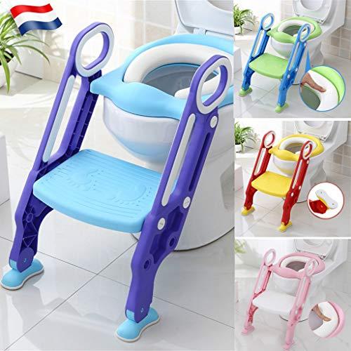 Siège de toilette échelle avec marches WC siège pot Entraîneur de bébé enfant FR (bleu-violet)