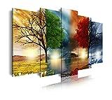 DekoArte 237 - Cuadro moderno en lienzo 5 piezas paisaje de las cuatro estaciones del año, 150x3x80cm, multicolor