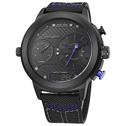 WEIDE hombres de moda reloj de pulsera de cuarzo de deporte Militar analógico Digital de tamaño extragrande trinal tiempo zona, calendario, correa de nailon (azul)