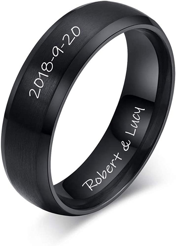 MPRAINBOW Custom Personalized Engraving Wedding Band Rings Name Date Oath Stainless Steel Rings