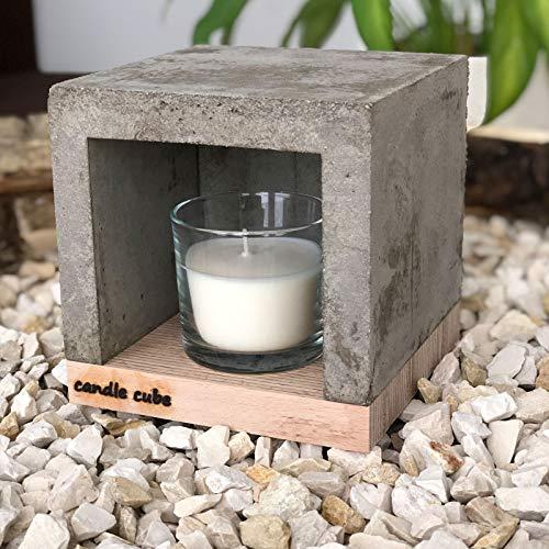 candle cube© - Lámpara de té pequeña para mesa o horno, con velas aromáticas a elegir, Crema suave.
