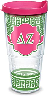 Tervis 1169818 Sorority - Delta Zeta Geometric Tumbler with Wrap and Fuchsia Lid 24oz, Clear