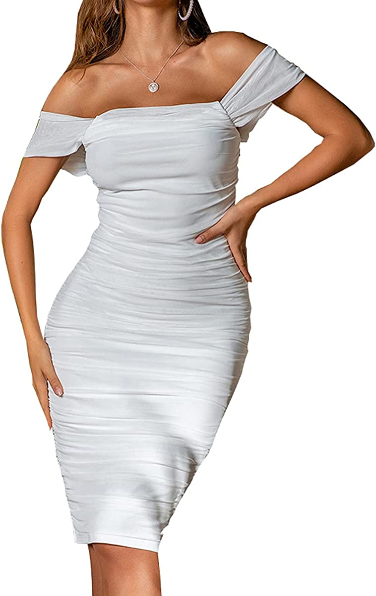 He Spend Women's Summer Off Shoulder Sexy Bodycon Tube Top Party Club Slim Midi Dress