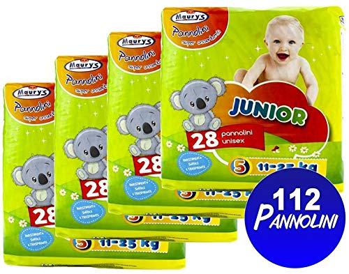 Maury's 112 Pannolini Junior 11-25kg 4x28pz Taglia 5 Super assorbenti Anatomici Sempre asciutti Ipoallergenici