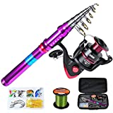PROBEROS Fishing Rod and Reel Combos - Telescopic Fishing Pole Spinning Reels with Carrier Bag Combo...