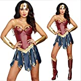 HIMABeauty Halloween Costume Cosplay Wonder Woman Sexy Superhero Wonder Woman Dress Costume trois pièces (Couvre-chef, Robe, Garde main),Rouge,M