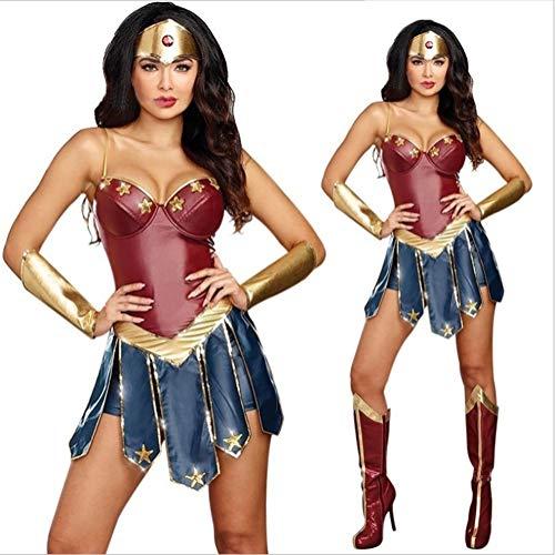 HIMABeauty Halloween-Kostüm Wonder Woman Cosplay Sexy Superheld Wonder Woman Kleid dreiteiliger Anzug (Kopfbedeckung, Kleidung, Handschutz),Rot,XXL