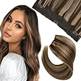 Hetto Halo Extensions Human Hair Invisible Hidden Wire Hair Extensions 14 Inch Halo Hair Extensions Dark Brown Highlights with Blonde 50 Grams