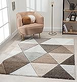 Alfombra moderna para salón, de Monde, pelo corto suave, efecto alto, corte de contorno, diseño triangular, gris y beige, 160 x 230 cm