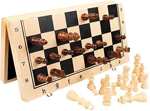 HEZHANG Schachspielbrett Für Kinder Erwachsene Magnetische Hölzerne Internationale Schach-Set Mit Gearbeiteten Schachstück-Amp; Kinder Pädagogisches Spielzeug Lagerlobetten 2 Extra-Königin,Mittel,Mit