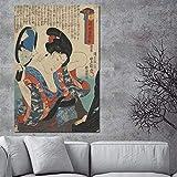 wZUN Pinturas y Carteles japoneses clásicos Retrato Mural de una Mujer en Kimono Pintura al óleo Japonesa Lienzo artístico para decoración de Habitaciones 60x90 Sin Marco