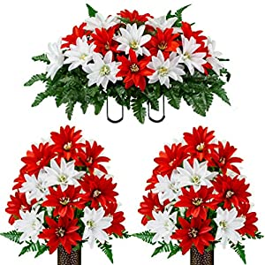 Sympathy Silks Artificial Cemetery Flowers – Realistic – Outdoor Grave Decorations – Non-Bleed Colors, and Easy Fit -2 Red & White Dahlia Bouquet with Saddle
