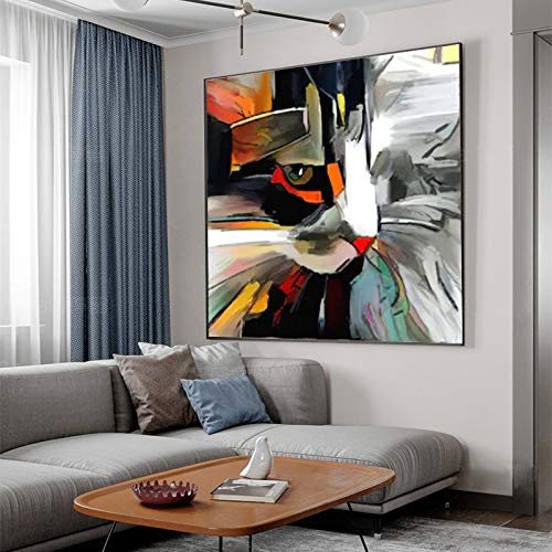 Geiqianjiumai Arte Gato Animal Lienzo Abstracto Mural decoración Moderna Cartel e impresión Arte de la Pared Sala de Estar Dormitorio Pintura sin Marco 40x40cm