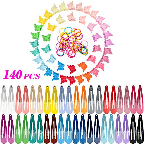 JOYJULY 140 PCS Hair Accessories for Girls, 30 PCS Butterfly Hair Clips 60 PCS Hair Barrettes and 50PCS Hair Ties for Girls Toddlers Kids Women